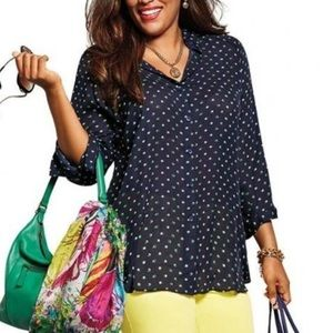 CAbi Abstract Dot Tunic Blouse #5019